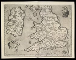 BRITANNICARUM INSULARUM VETUS DESCRIPTIO - Map of Ireland, England and Wales